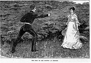 """Far from the Madding Crowd -  """"She took up her position as directed."""" Troy courts Bathsheba; Cornhill illustration by Helen Paterson Allingham"""