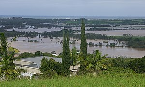 Cyclone Debbie - Flooding on the Tweed River. View from Terranora on 1 April 2017