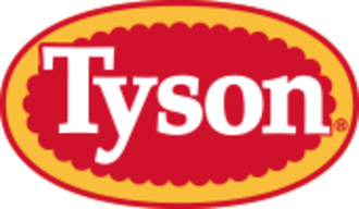 Tyson Foods - The Tyson logo, used as a corporate logo from 1978 to 2017. It has been seen with minor changes since 1972. It continues to be used as a logo on Tyson brand products.