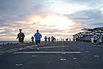 U.S. Sailors and Marines aboard the amphibious assault ship USS Iwo Jima (LHD 7) participate in the Turkey Trot 5k run in the Mediterranean Sea Nov. 22, 2012 121122-N-QM601-003.jpg