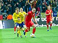 UEFA EURO qualifiers Sweden vs Romaina 20190323 Kristoffer Olsson and George Puscas 2.jpg