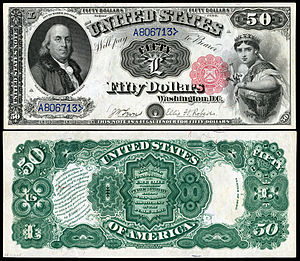 United States fifty-dollar bill - 1880 $50 Legal Tender, depicting Benjamin Franklin
