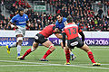 USO - Saracens - 20151213 - Juan Figallo tackled by Leon Power with Maro Itoje and Guillaume Boussès.jpg