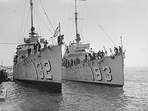 USS Aaron Ward (DD-132) and Abel P. Upshur (DD-193) arriving at Devonport 1940.jpg