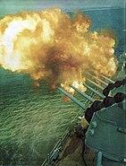USS Galveston (CLG-3) bombarding shore 1965