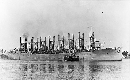 Jupiter 16 October 1913, the collier, before conversion to Langley, the aircraft carrier. USS Jupiter (AC-3) at Mare Island on 16 October 1913 (NH 52365).jpg