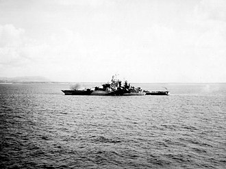 USS Tennessee (BB-43) - Tennessee bombarding Guam, 19 July 1944.