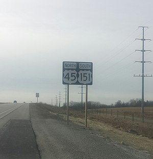 U.S. Route 45 in Wisconsin - A wrong-way concurrency: northbound US 45 and southbound US 151 south of Fond du Lac, Wisconsin (actual direction of travel is westbound)