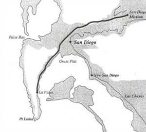 La Playa Trail - United States Boundary Survey of the San Diego, California area, 1850, showing the La Playa Trail from La Playa to Old San Diego and the Mission