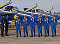 US Navy 041024-N-8253M-010 Pilots assigned to the U.S. Navy flight demonstration team, the Blue Angels, march down the ramp following their performance at the 2004 N'Awlins Air Show.jpg