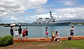 US Navy 042806-N-0373Q-855 Family members at Hickam Air Force Base welcome the Arleigh Burke-class guided missile destroyer USS John Paul Jones (DDG 53).jpg