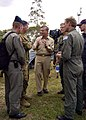 US Navy 050103-N-0057P-438 Commander, Carrier Strike Group Nine (CSG-9), Rear Adm. Doug Crowder, speaks with a members of the Australian Royal Army in Aceh, Sumatra, Indonesia.jpg