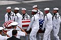 US Navy 050716-N-0555B-033 Pallbearers of the Ceremonial Honor Guard carry the casket of retired Vice Adm. James B. Stockdale during a memorial service held aboard the Nimitz-class aircraft carrier USS Ronald Reagan (CVN 76).jpg