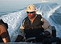 US Navy 050924-N-9563N-003 U.S. Navy Boatswain's Mate 1st Class Conrad Mathis patrols the waters of the Persian Gulf near the Al Basra and Khawr Al Amaya Iraqi Oil Terminals.jpg