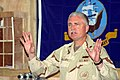 US Navy 051112-N-8084B-067 Commander, 1st Naval Construction Division, Rear Adm. Robert L. Phillips, addresses the staff of Naval Mobile Construction Battalion Twenty Two (NMCB-22) during a recent visit to Iraq.jpg
