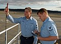 US Navy 070327-N-6247M-011 Aerographer's Mate 3rd Class Bryan Murray, and Aerographer's Mate 3rd Class Timothy Fleming take and record wind readings.jpg