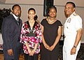 US Navy 070512-N-2456S-125 Scholarship recipients (from the left) Gerald M. Fleming II, a Maury High School senior, Sandra Beale and Clarissa Epps, both Lakeland High School seniors, stand with Rear Adm. D.C. Curtis.jpg