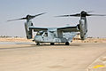 US Navy 071004-M-7404B-083 An MV-22B Osprey with U.S. Marine Medium Tiltrotor Squadron 263, taxies on the flight line at Al Asad Air Base after landing.jpg