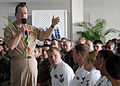 US Navy 080220-N-9758L-103 Chairman of the Joint Chiefs of Staff Adm. Mike Mullen speaks to Hawaii-based service members during an all hands call at Hickam Air Force Base Officer's Club.jpg
