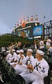 US Navy 080604-N-8848T-070 Recruit Training Command staff Sailors watch the celebration above the centerfield scoreboard at U.S. Cellular Field.jpg