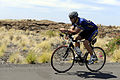 US Navy 091006-N-0555B-289 Lt. Cmdr. Don Cross trains on the Kuakini Highway for the 2009 Ford Ironman World Championship triathlon.jpg