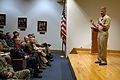 US Navy 100303-N-9818V-053 Master Chief Petty Officer of the Navy (MCPON) Rick West addresses Class 151 at the Senior Enlisted Academy during his visit to Naval Station Newport.jpg