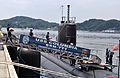 US Navy 110701-N-DI599-016 Sailors assigned to the Los Angeles-class attack submarine USS Columbia (SSN 771) load stores shortly after mooring at F.jpg