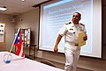 US Navy 111011-N-GO179-001 Capt. Carlos Lebron, commanding officer of Navy Drug Screening Laboratory Jacksonville, delivers remarks to Sailors and.jpg
