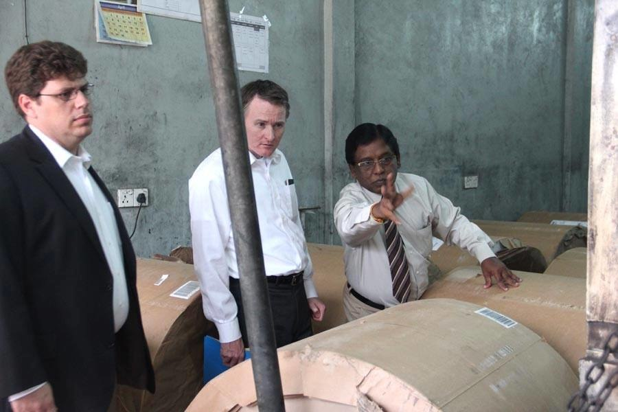 US Senate Foreign Relations Committee Inspecting Burnt Down Printing Press of Uthayan Newspaper.jpg