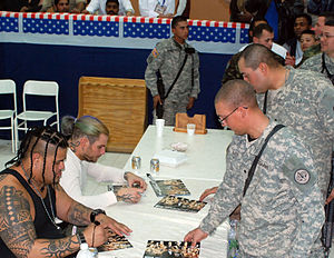 Umaga (wrestler) - Fatu and Jeff Hardy signing autographs to U.S. soldiers