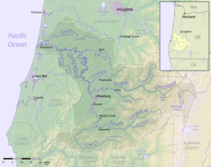 Umpqua River - Image: Umpqua River watershed