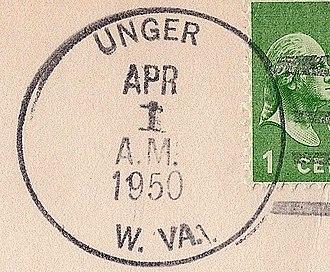 Unger, West Virginia - Image: Unger WV Postmark