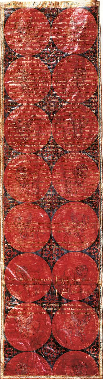 Theophanu - Marriage Charter of Empress Theophanu, State Archive, Wolfenbüttel.