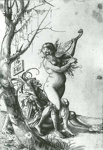 Urs Graf - Urs Graf, Naked female fiddler with an old fool from Basel (1523)