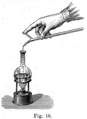 Use of an english style burette, hot titration (Alessandri 1895.18).png