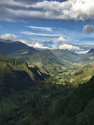 Cocora Valley - View of Valle del Cócora with mountains and clouds