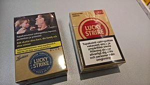Cigarette pack - On the left a new Lucky Strike cigarette pack by a new EU directive meanwhile on the right there's an obsolete pack as red. Warning photos will come into effect in May 2017 at the latest across the EU.