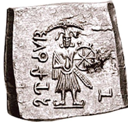 Vasudeva Krishna on a coin of Agathocles of Bactria circa 180 BCE