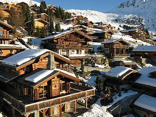 Verbier village located in Valais in Switzerland