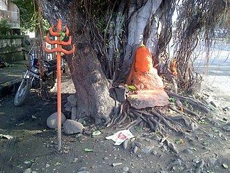 Cult image - Vermilion on a stone is a common form of a Hindu murti