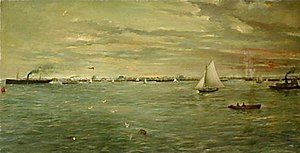Gulf of Mexico - Galveston harbor by Verner Moore White