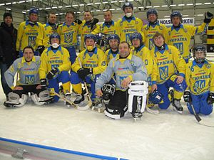 Vetlanda - Ukraine national bandy team in Vetlanda at their first World Championship