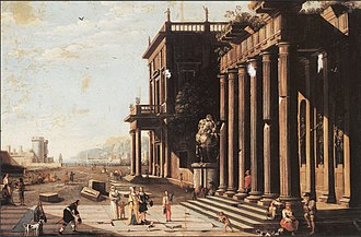 Vicente Giner - A capriccio view of a palace with ruins and figures. Vicente Giner / oil on canvas / 1660-1681.
