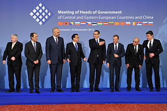 Victor Ponta - Ponta (fifth from left) in Bucharest in November 2013, meeting heads of government from Central and Eastern Europe, and China