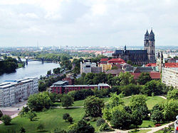 View of Magdeburg and cathedral, from the tower of the Johanniskirche