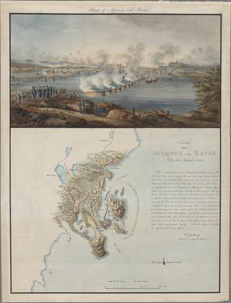 """Battle of Ratan and Sävar - """"View and Map of the Affair at Ratan, of 20 August 1809"""" by Carl Gustaf Gillberg, 1809"""