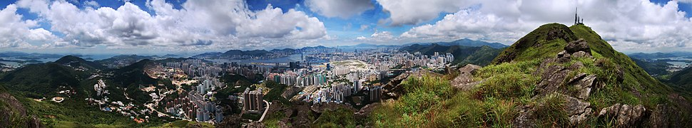 View from the highest mountain of Kowloon overlooking Victoria Harbour and Hong Kong Island.
