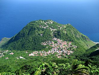 Saba - A view of the village of Windwardside, taken from Mount Scenery