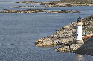 Eilean Bàn, Lochalsh - View of the lighthouse from Skye bridge