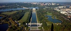 West Potomac Park - View of West Potomac Park (left) from the Washington Monument